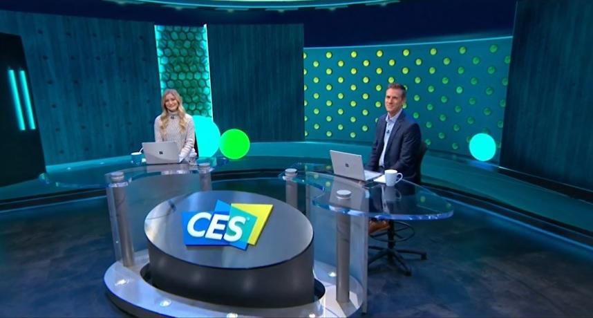 האולפן הוירטואלי של תערוכת CES 2021 הדיגיטלית. צילום מסך