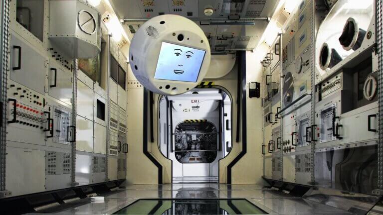 הרובוט CIMON בתחנת החלל הבינלאומית. הדמיה: איירבוס