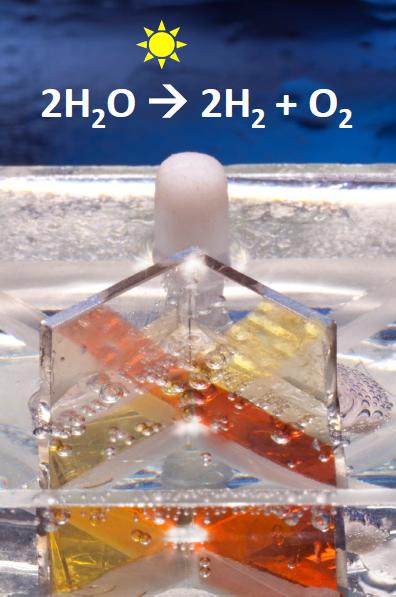 פיצול מים למימן וחמצן בתהליך הפוטו-אלקטרוכימי. (קרדיט צילום: מיקי קורן, דוברות הטכניון)