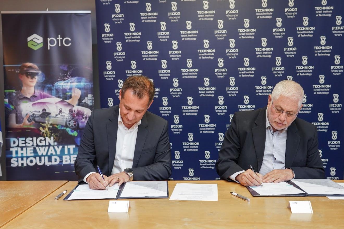 נשיא הטכניון פרופ' אורי סיון (מימין) וזיו בלפר סגן נשיא עולמי למחקר ופיתוח ומנכ
